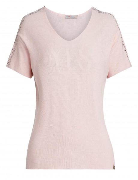 roséfarbener Damen-Pullover von yourConcept mit Halbarm und V-Ausschnitt