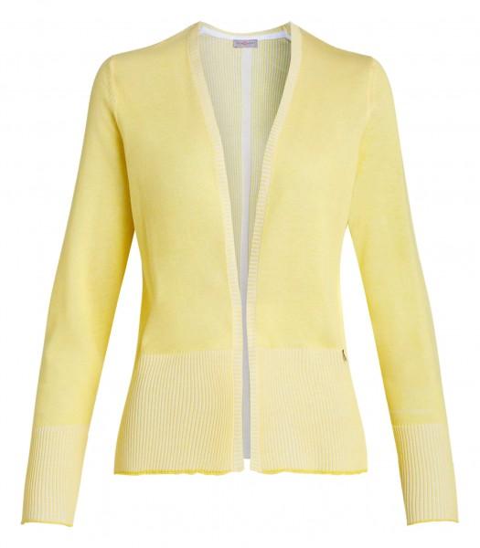 gelbe Damen-Strickjacke von yourConcept mit Langarm und V-Ausschnitt