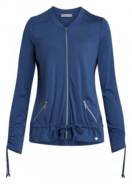 Blaue Jersey-Jacke für Damen von yourConcept mit Langarm und Stehkragen