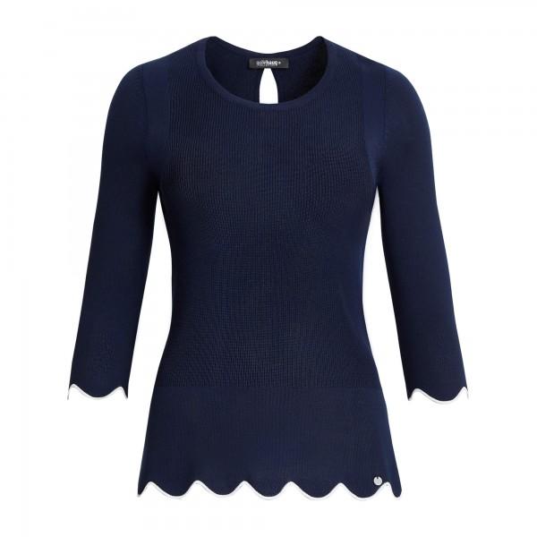 Uni Pullover 3/4 Arm, Ärmel- und Saumende Wellenkantenabschluss