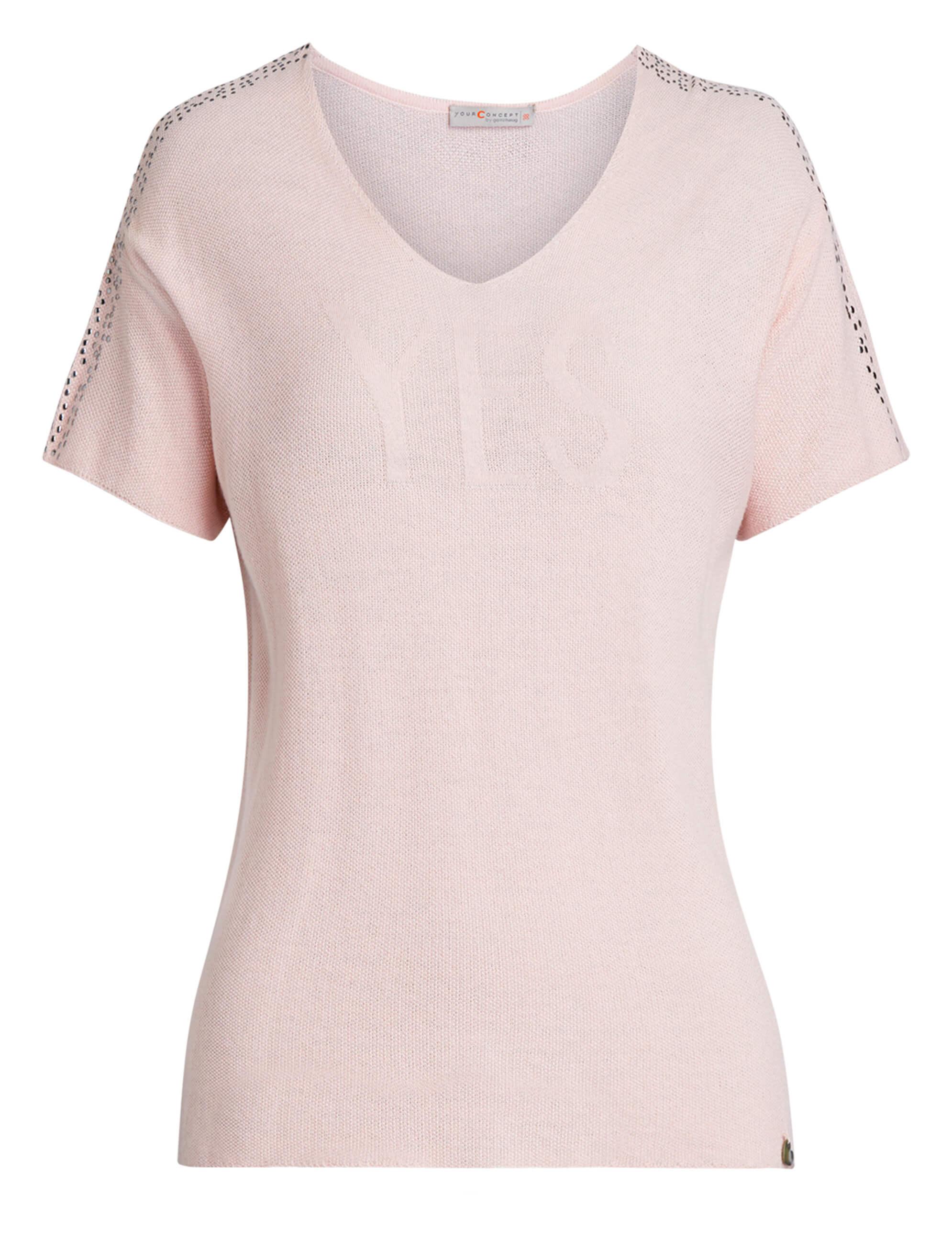 071018daac7ed5 Vorschau: roséfarbener Damen-Pullover von yourConcept mit Halbarm und V- Ausschnitt ...