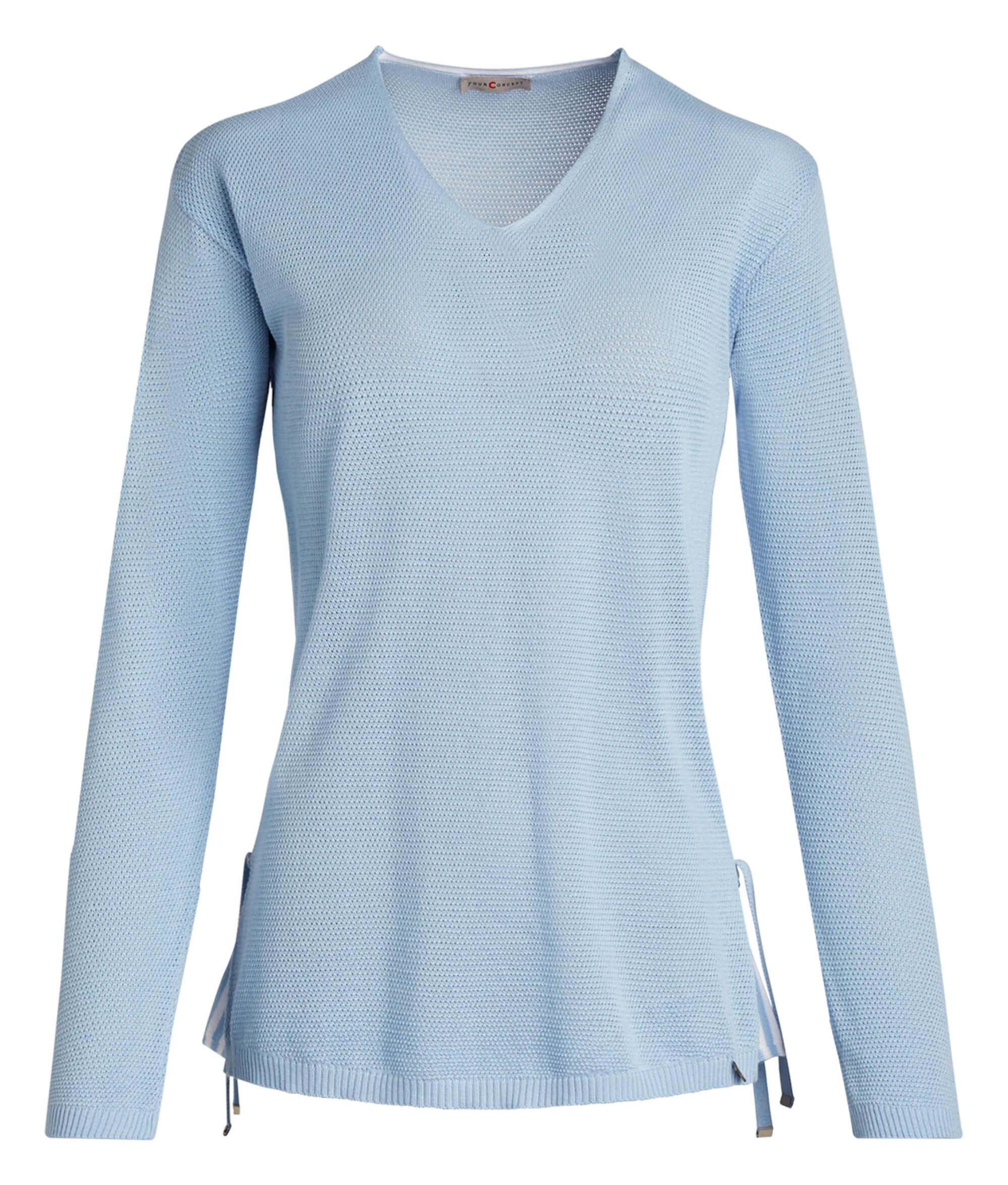 hellblauer Damen Pullover von yourConcept mit Langarm und V Ausschnitt