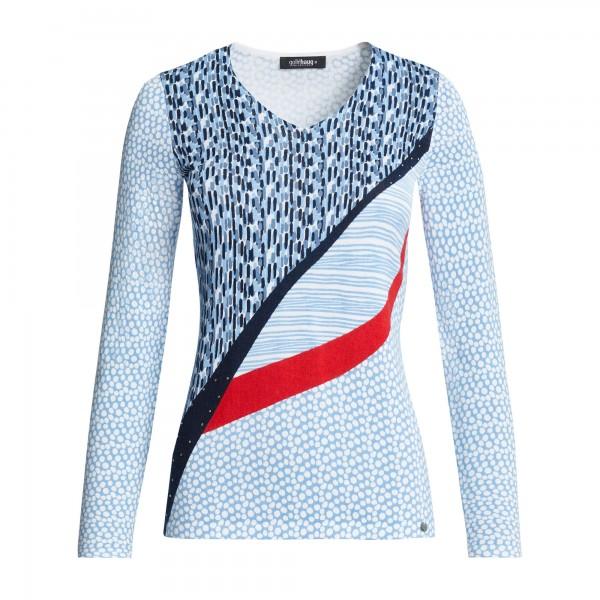 V-Ausschnitt Pullover 1/1 Arm, allover Druck