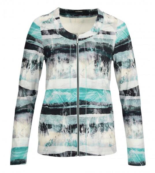 Jersey-Jacke, Rundhals mit Reißverschluß, bedruckt