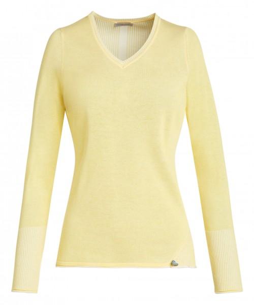 Gelber Damen-Pullover von yourConcept mit Langarm und V-Ausschnitt