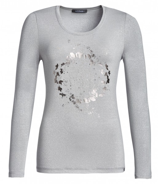 T-Shirt, Rundhals, bedruckt mit Glitzereffekt