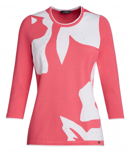 Damen-Intarsien-Pullover von golléhaug mit 3/4 Arm und Rundhals