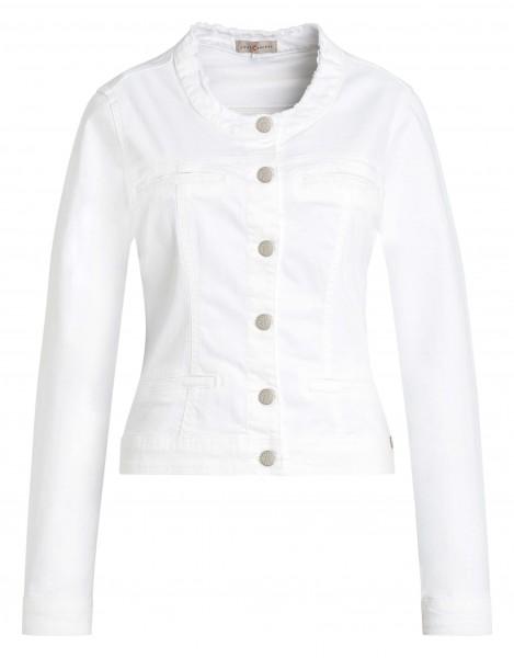 Weiße Damen-Jacke von yourConcept in Langarm mit Rundhals