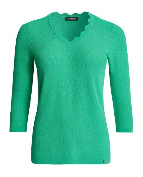 Uni-Pullover 3/4 Arm, V-Ausschnitt, halsblende mit Zackenkante